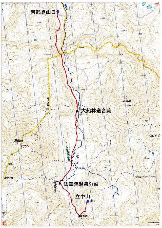 吉部登山口~立中山(九重連山)登山ルートマップ